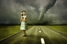 little girl large tornado over the road ( photo and hand-drawing elements combined. The grain and texture added. )